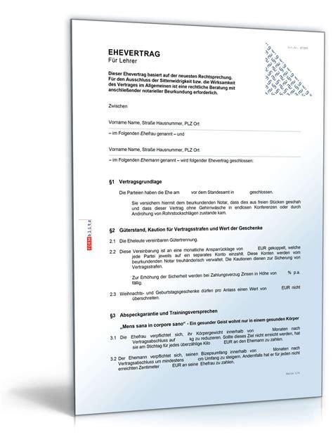 Musterbriefe Lehrer Ehevertrag Lehrer Vertrag Vorlage Zum
