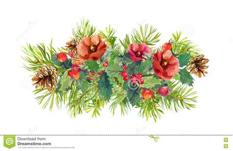 winter flowers fir tree christmas mistletoe watercolor