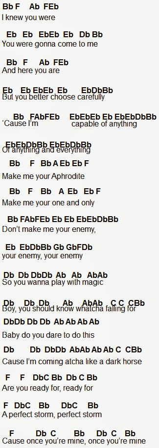 printable lyrics to dark horse flute sheet music dark horse