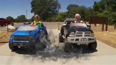 dodge ram powerwheels power wheels truck race dodge ram vs ford 150 raptor
