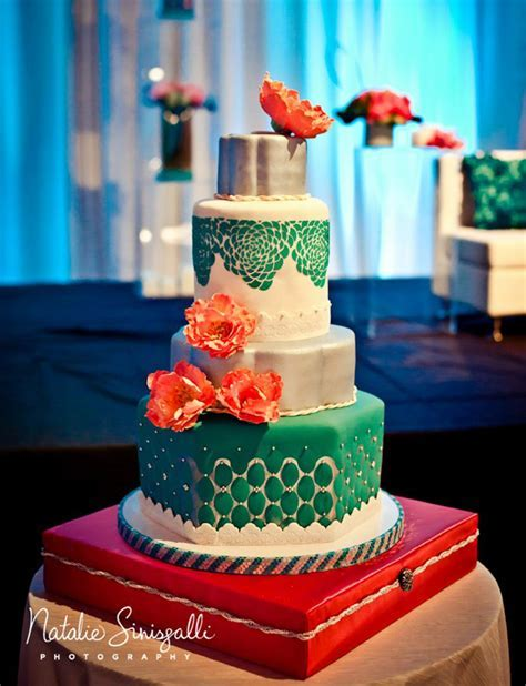 Coral & Teal Wedding Cake   Wedding Cakes   Wedding cakes