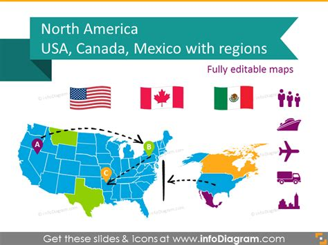 map of usa and canada and mexico editable maps icons usa canada mexico america