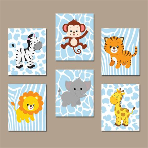 Baby Boy Nursery Wall Art Jungle Animals Artwork By Trmdesign Animal Nursery Decor