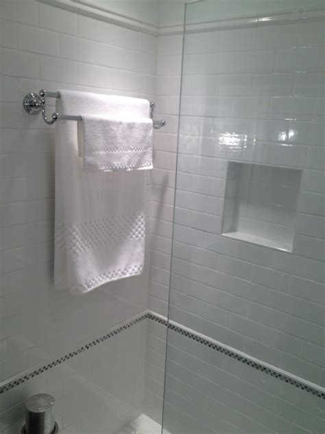 towel bar in shower subway tile shower traditional bathroom courthouse