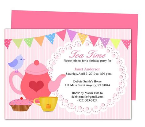 afternoon tea party invitation party templates printable