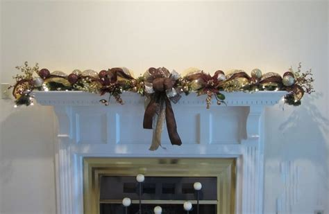 christmas garland lighted swag mesh mantel wall bronze