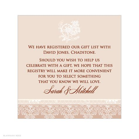 wedding invitation registry wording alannah wedding invitations stationery shop latte lace gift registry card