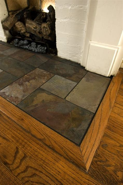 slate fireplace hearth family room traditional  tile