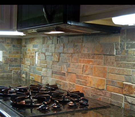 rustic backsplash for kitchen rustic kitchen back splash using quot terracotta quot stack ledge stone backsplashes pinterest