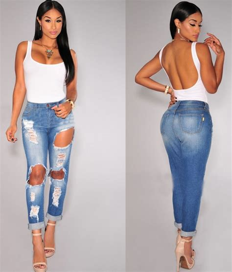 Highwaist Blue Ripped 342 2048 fashion casual washed holes vintage denim ripped high waist
