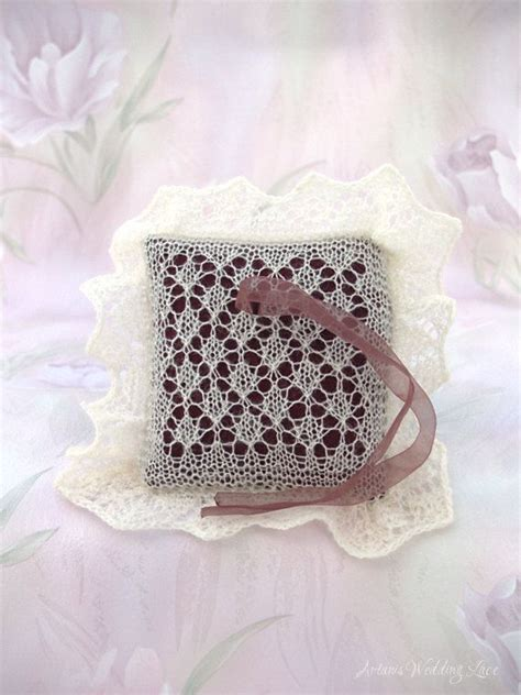 lace wedding ring bearer pillow knitted by