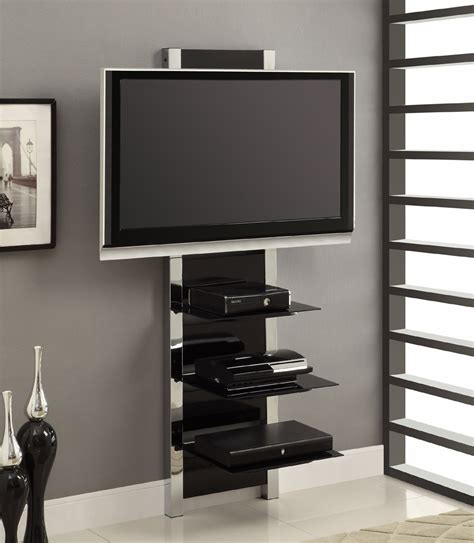 Marvelous Living Room Wall Mounted Cabinets #6: AltraMount-Black-and-Chrome-Wall-Mount-TV-Stand-made-of-glass-and-sturdy-metal-frame-with-three-shelves-for-wire-management-solution.jpg