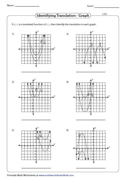 Identify The Transformation Worksheet by Transformation Of Quadratic Function Worksheets