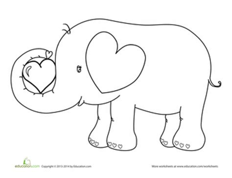 elephant valentine coloring page valentine s day elephant coloring page worksheets craft
