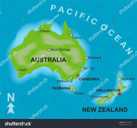 map showing australia and new zealand stylized map showing countries australia new stock