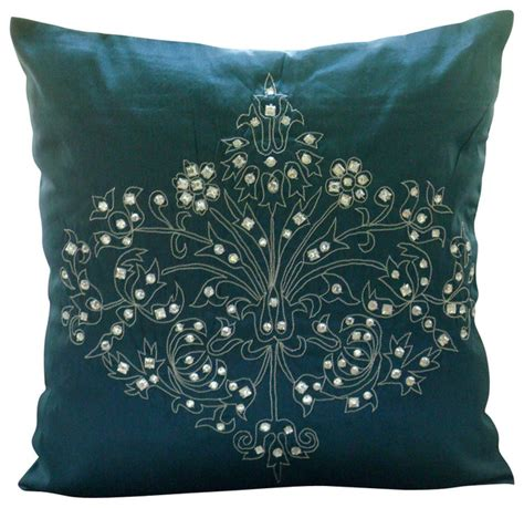 damask decorative teal blue silk throw pillow cover 14x14