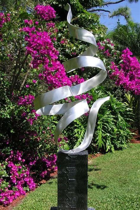 freestanding contemporary metal abstract garden sculpture art whisper