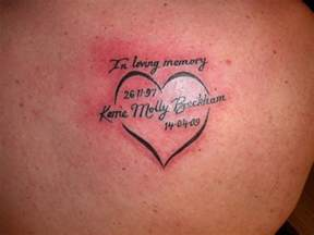 in loving memory heart tattoo on back shoulder tattoo