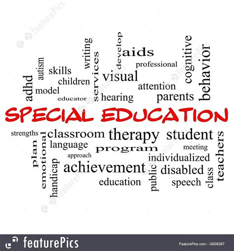 special words illustration of special education words