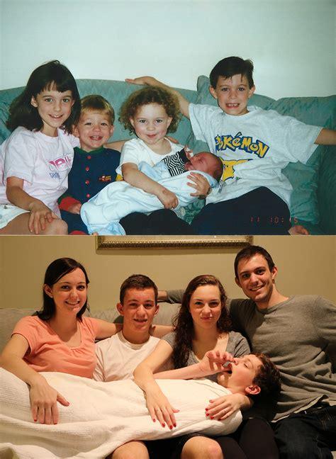 For Siblings - five siblings recreate their childhood photos for