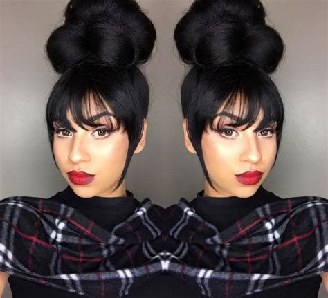 pics of black women pretty big hair buns with added hair bun hairstyles with bangs for black women hairstyles