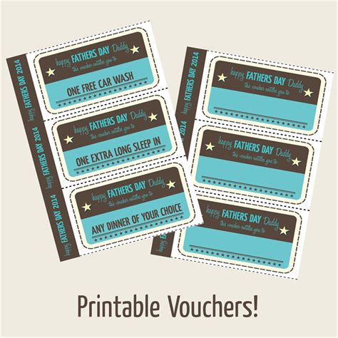 printable vouchers to use in store fathers day printable vouchers vintage style dee dub