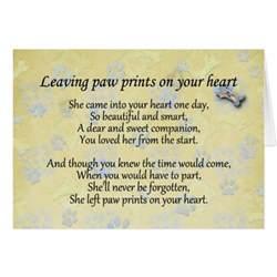 pet sympathy card for pet loss leaving paw print zazzle
