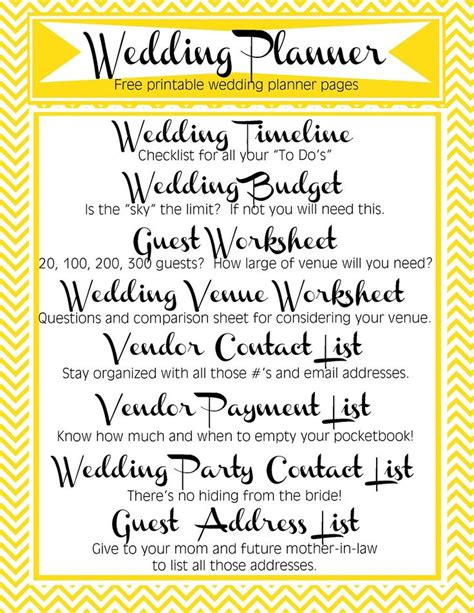 free printable planner for wedding free printable wedding planner includes timeline budget