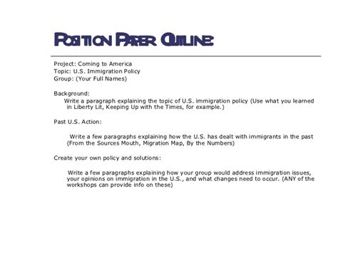 position paper template coming to america position papers