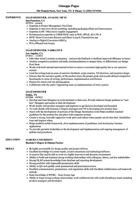 design lead cv lead designer resume sles velvet jobs
