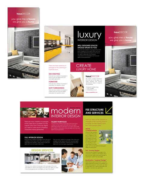 interior design firm tri fold brochure template