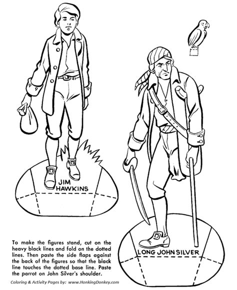 treasure island coloring pages pirate cut out figgures