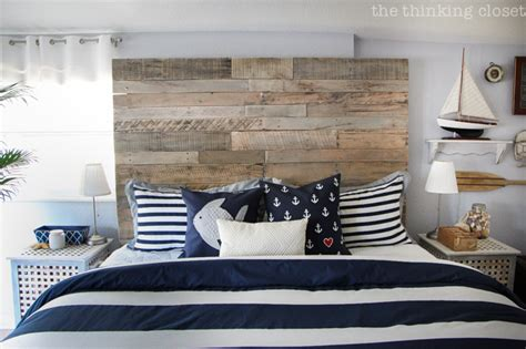 before after rustic nautical master bedroom makeover the thinking closet how to build a wood pallet headboard the thinking closet
