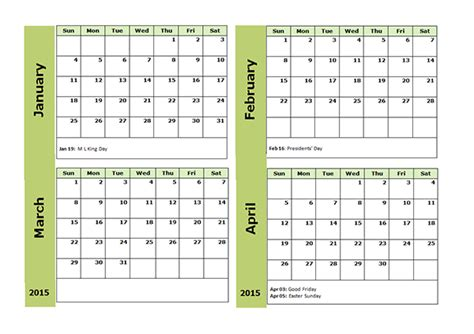 2015 Four Monthly Calendar Template   Free Printable Templates