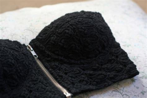 Bralette Lace Tali Silang pattern knit zip tank top black top wheretoget