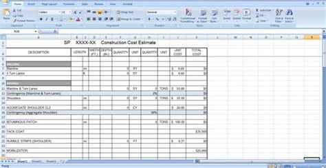 construction cost estimate template cost estimation sheet