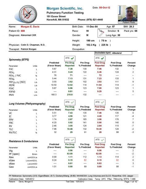 Detail Reports Morgan Scientific Pulmonary Function Test Equipment And Pft Software Pft Interpretation Template