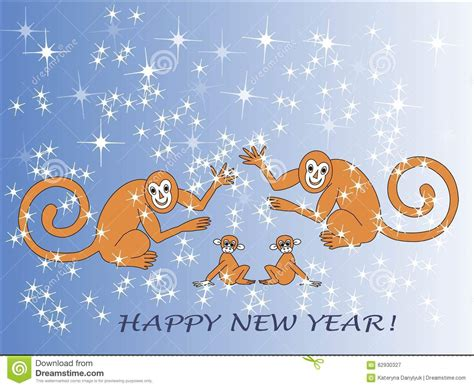 happy new year monkey wishes greeting card happy new year the new year monkey