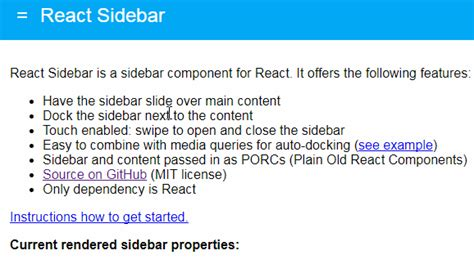 A Sidebar Component For React React Component Template
