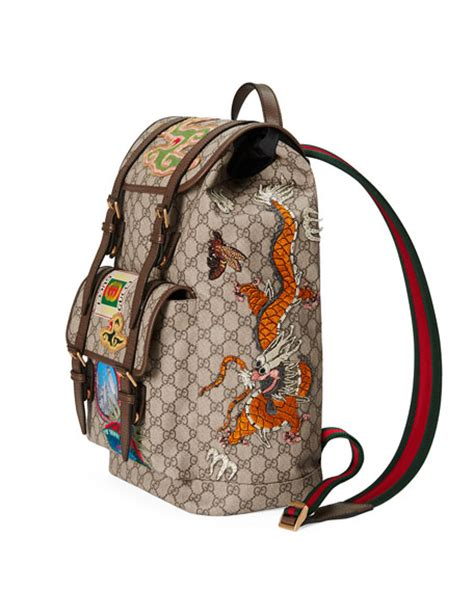 Gucci Gg Supreme Backpack Canvas And Studded Leather 15055 Btc 04 gucci leather trimmed appliqu 233 d monogrammed coated canvas backpack beige modesens