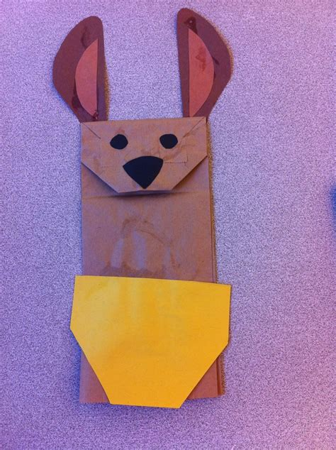 kangaroo paper bag puppet school project ideas