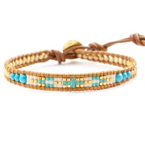 Mix Turquoise turquoise mix single wrap bracelet on henna leather chan