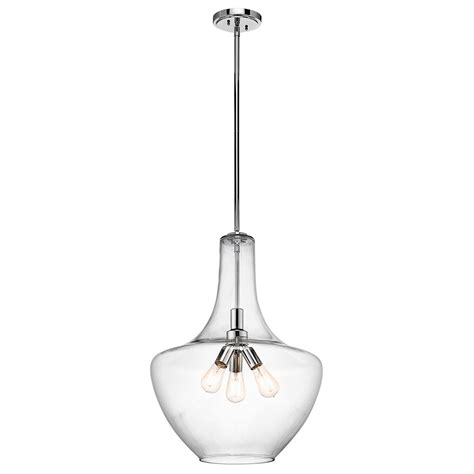 kichler lighting everly kichler 42198ch everly chrome 20 quot pendant light fixture