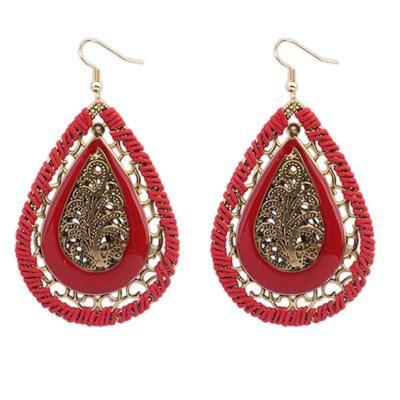 waterdrop shape decorated hollow out design alloy korean earrings asujewelry