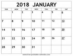 Calendar Printable January 2018 Printable 2018 January Calendar