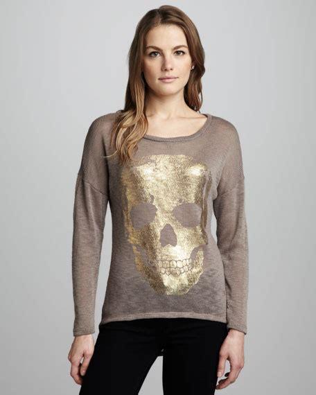 Sewater Go Mu 1516 vintage foiled skull knit sweater
