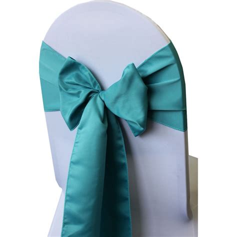 yourchaircovers turquoise lamour satin chair sashes pack of