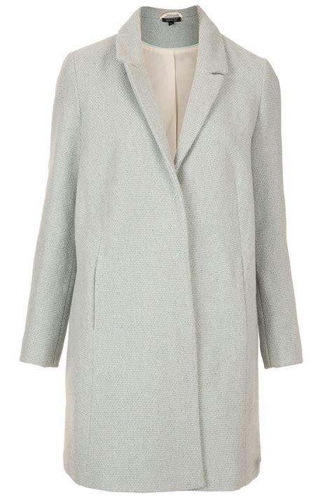 topshop swing coat topshop textured swing coat in blue lyst
