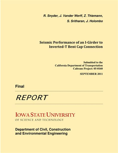 caltrans seismic design criteria v 1 4 seismic performance of an i girder to inverted t bent cap