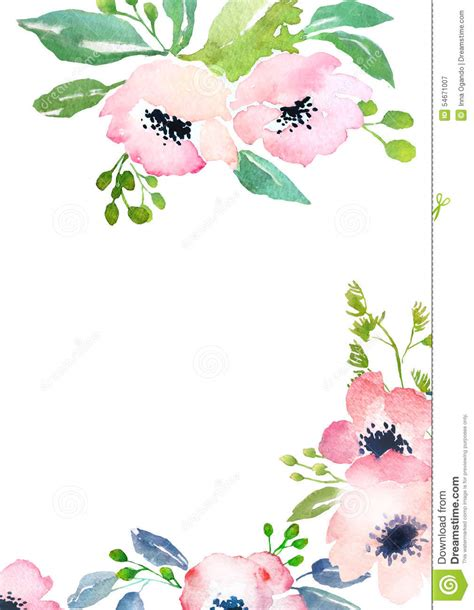 watercolor templates watercolor roses card template stock illustration image